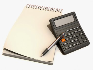 Calculator, notebook and pen