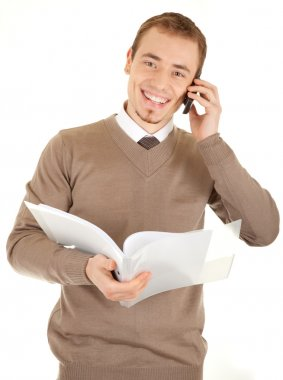 Smiling man with documents and phone