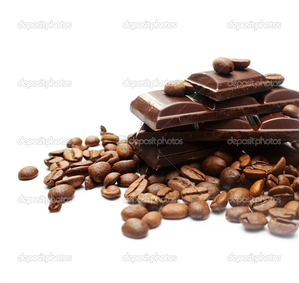 Pieces of chocolate and coffee beans
