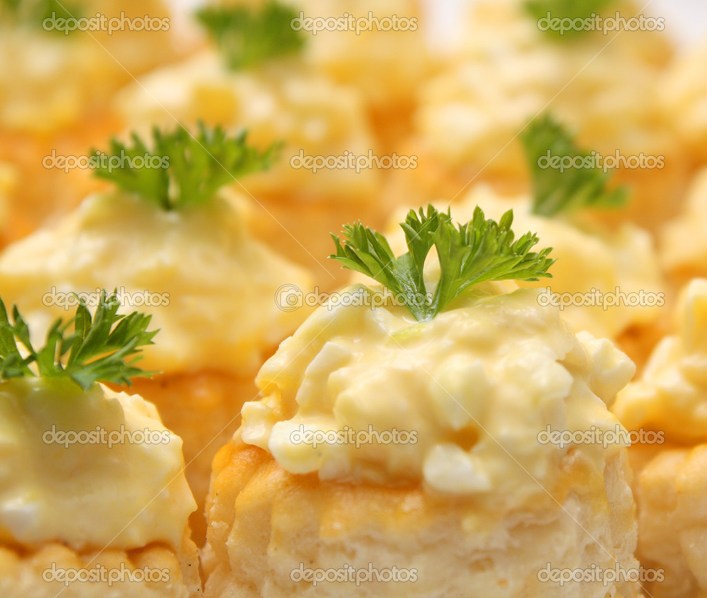 Small snacks with cheese salad