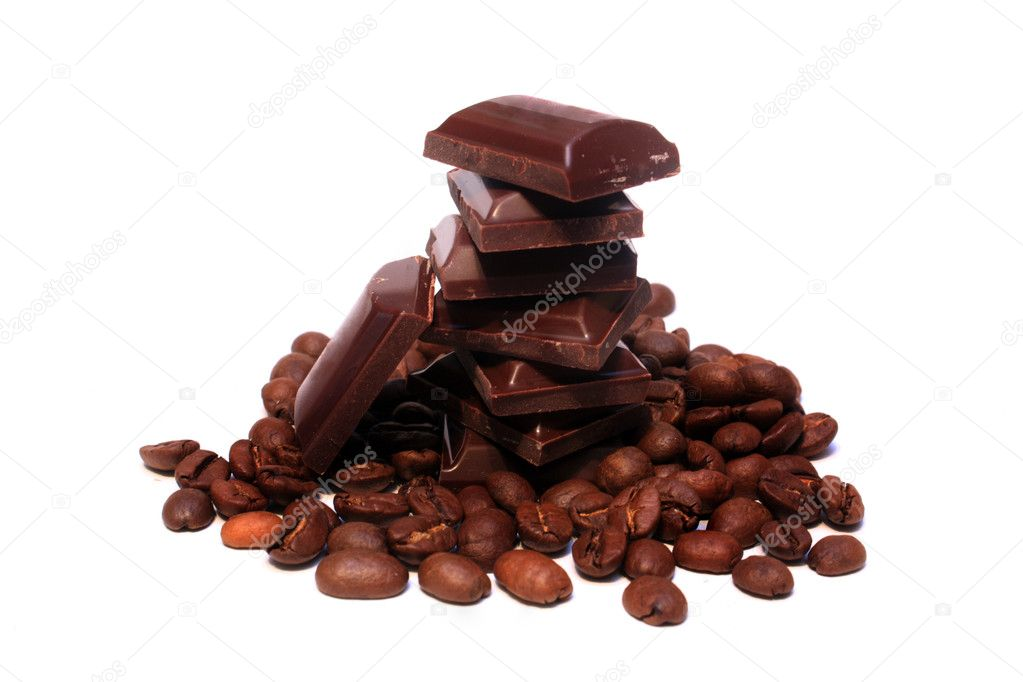 Coffee beans and chocolate pieces