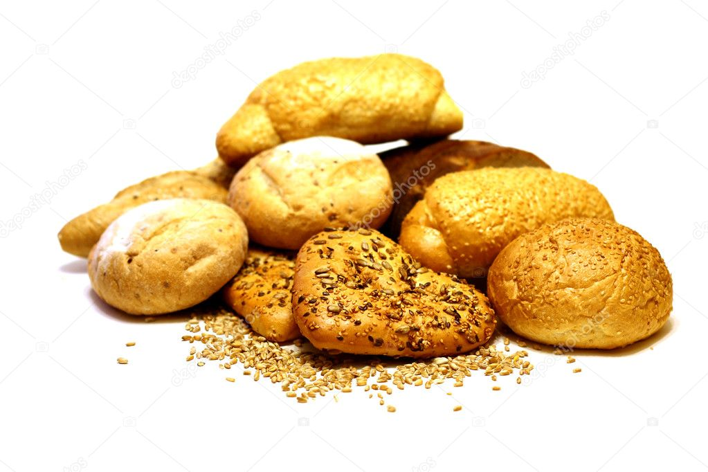 Assortment of bread isolated o white
