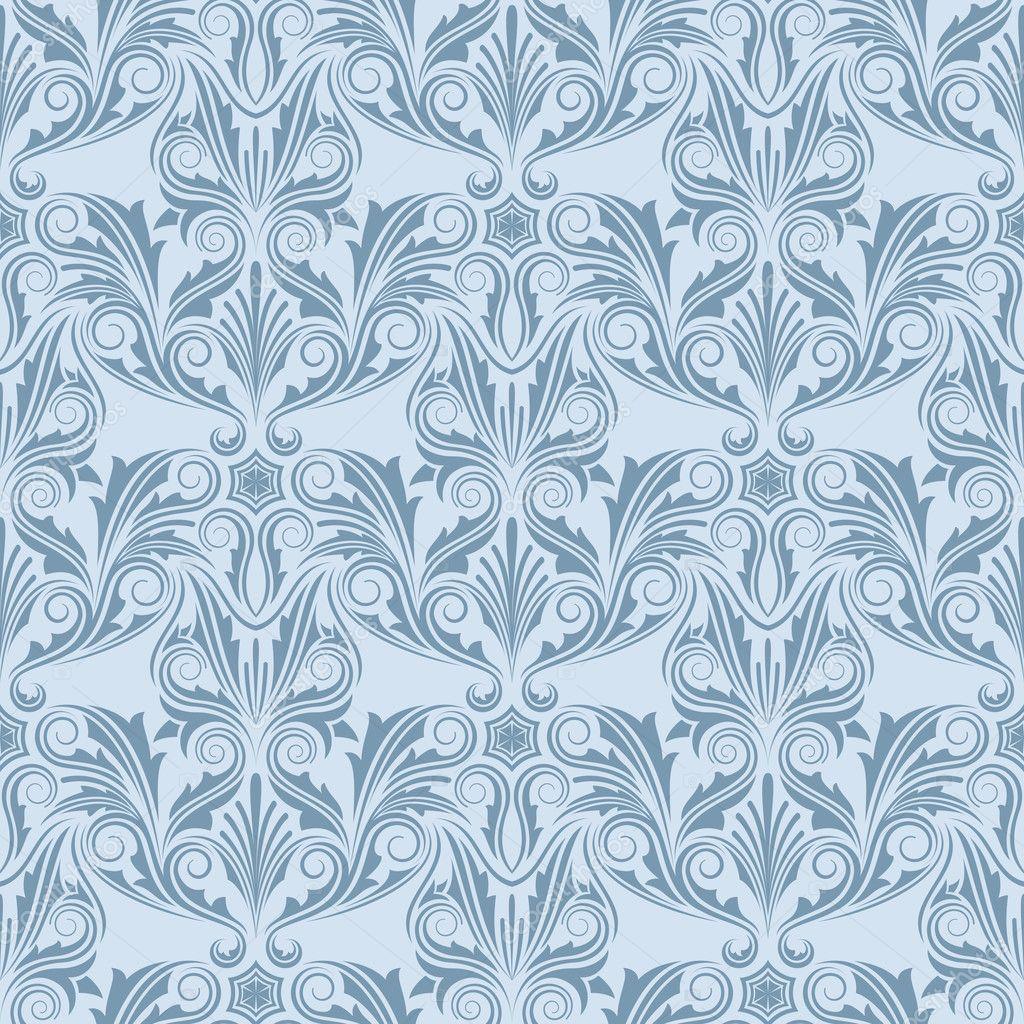Blue seamless wallpaper pattern stock vector zybr78 for Blue patterned wallpaper bedroom