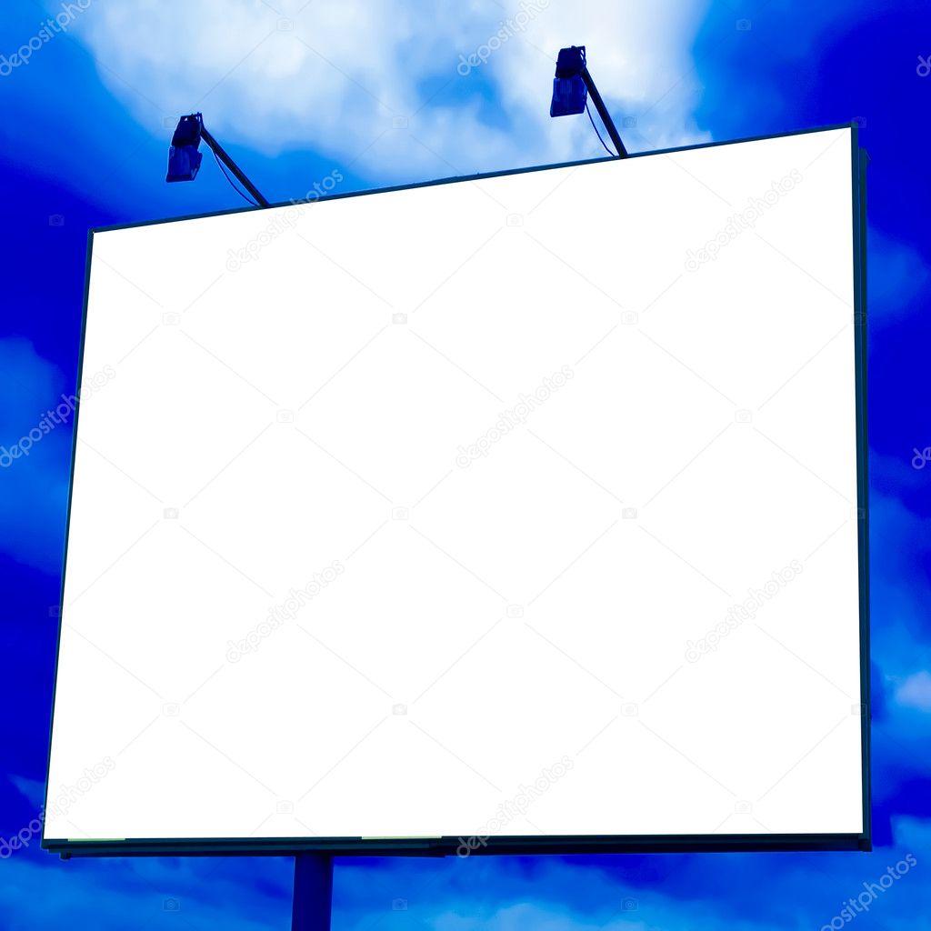 Blank big board over blue sky
