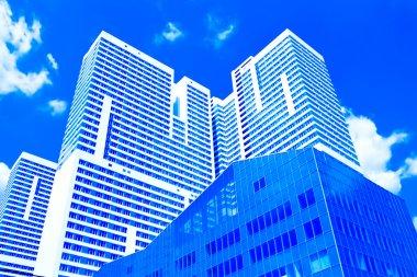Underside view to new skyscraper business centre stock vector