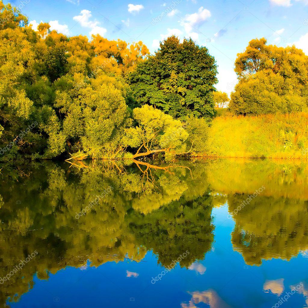 Beautiful reflection of landscape