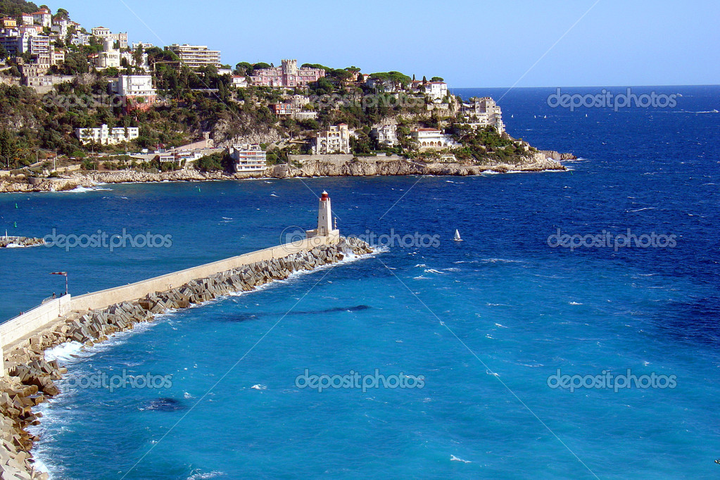 Light house in the port of Nice, France