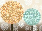 Fotografie Vektor-Satz von Baum Spirale Muster