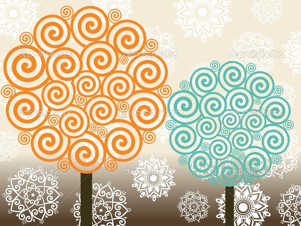 Vector set of spiral pattern tree