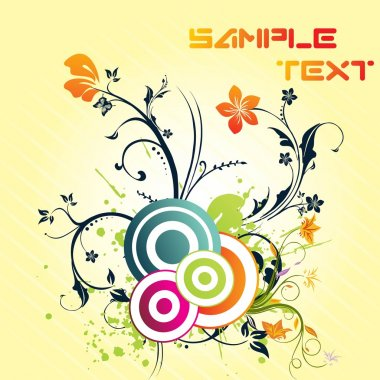 Grungy floral pattern with sample text
