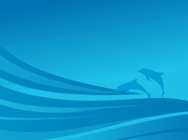 Waves and dolphin in the sea, wallpaper