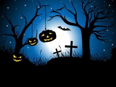 Vector pumpkin hanging on dead tree