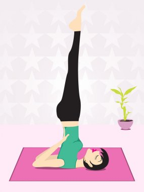 Girl doing yoga with star background