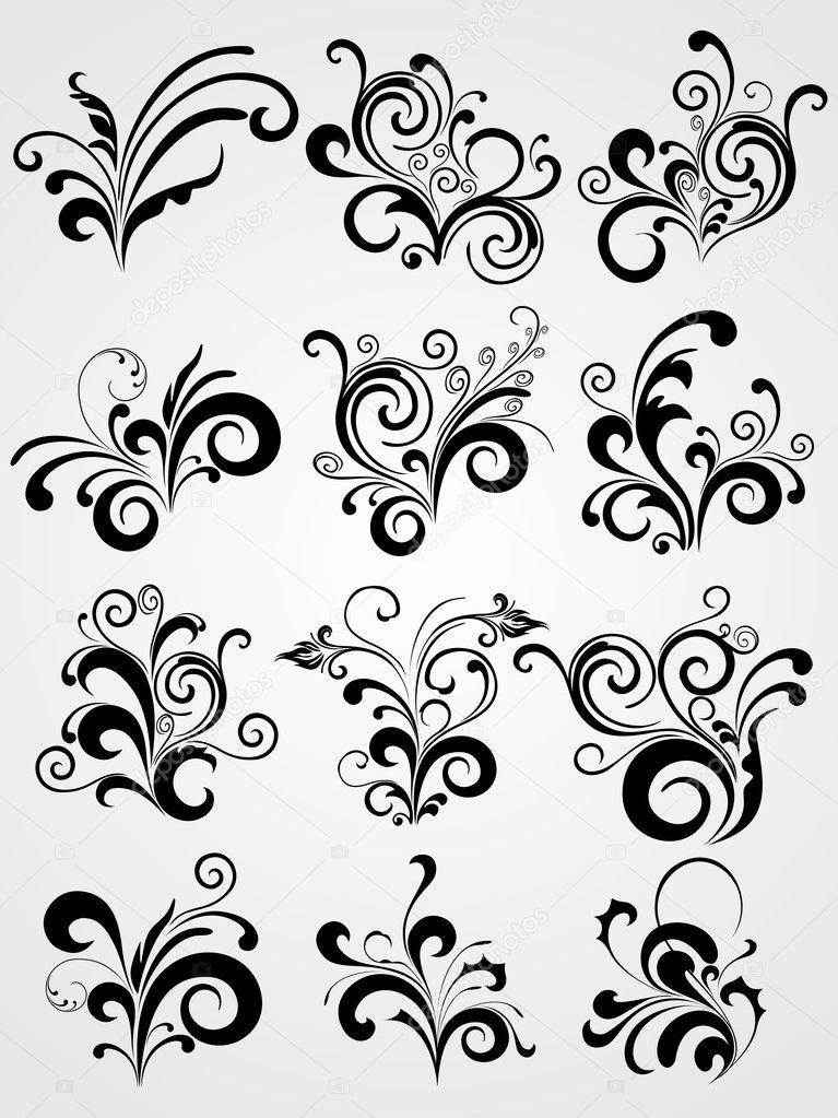 Black element design tattoos with border