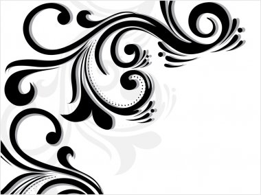 Abstract white background with black floral pattern , illustration clip art vector