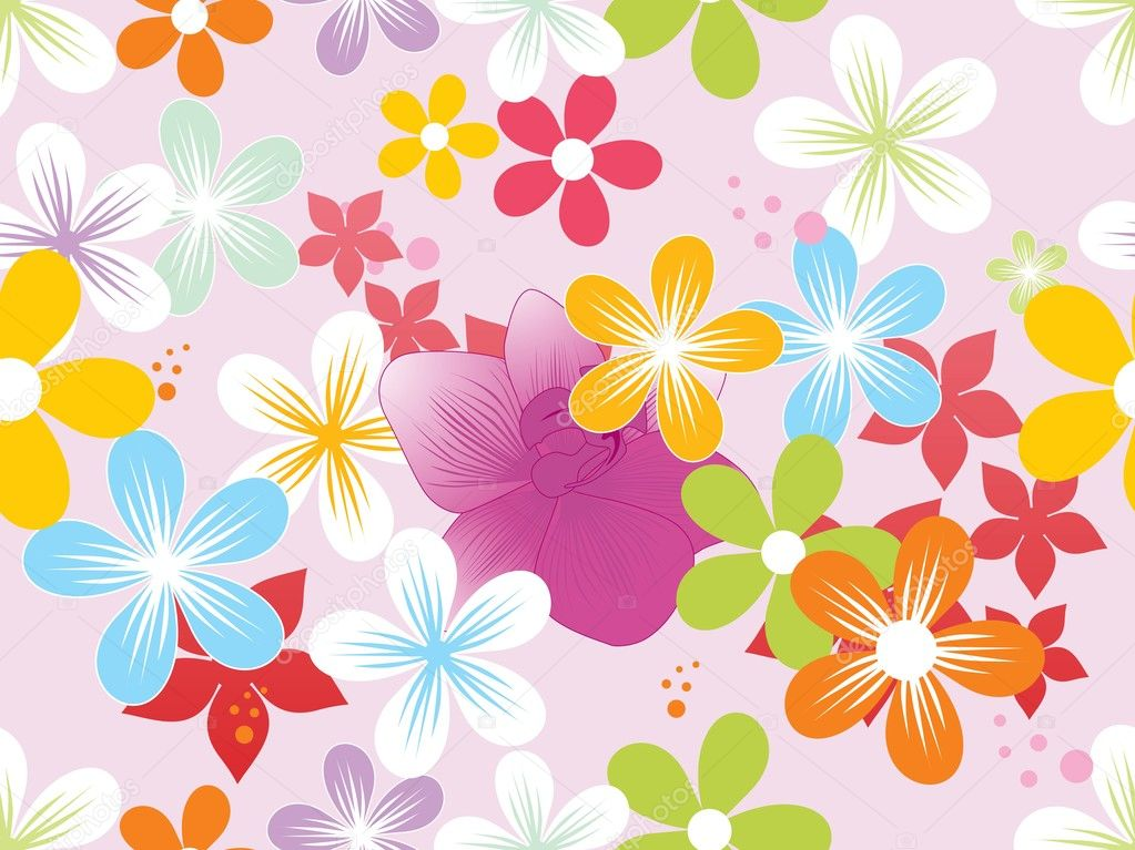 Vector colorful blooms wallpaper