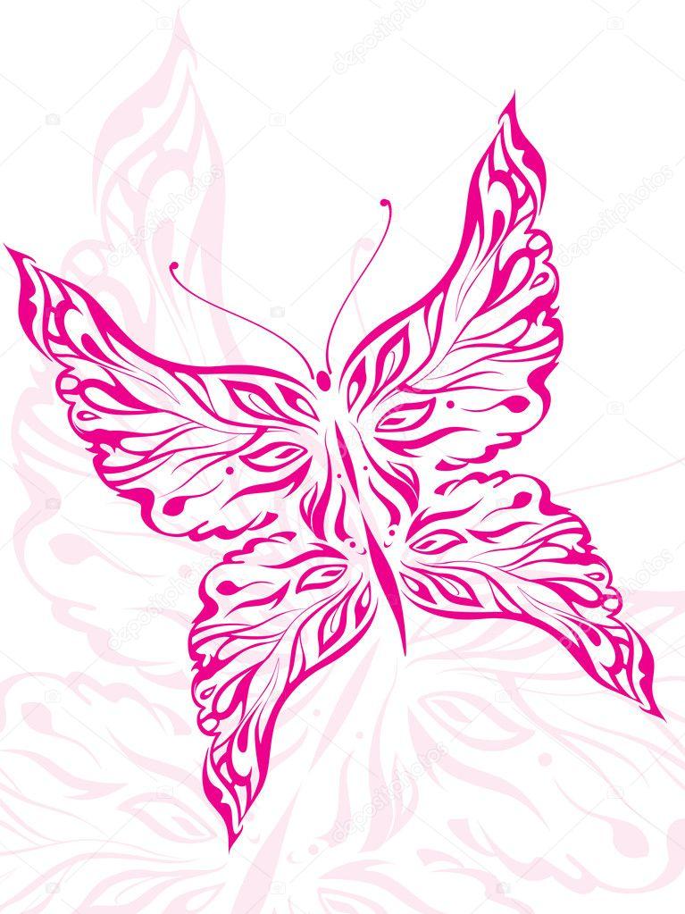 Beautiful pink butterfly tattoo