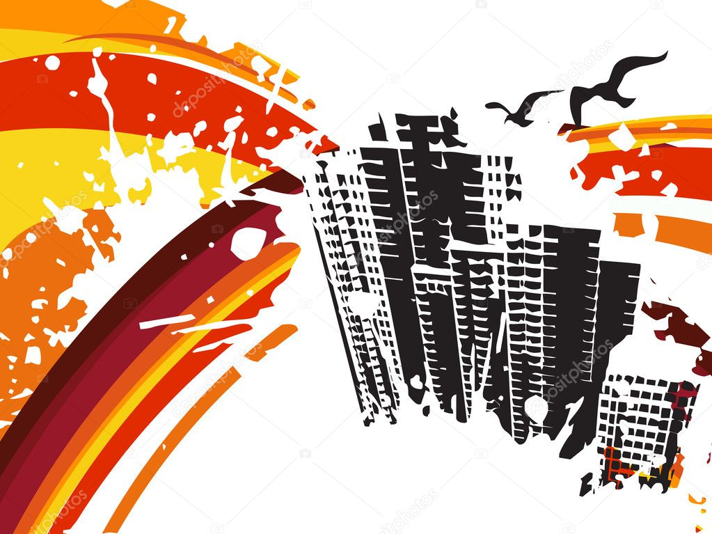 Background with grunge city, design3