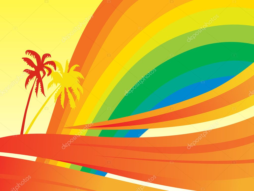 Banner, rainbow waves and palm tree