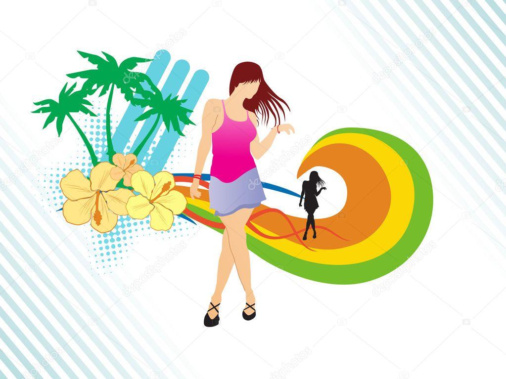Dancer on summer background,