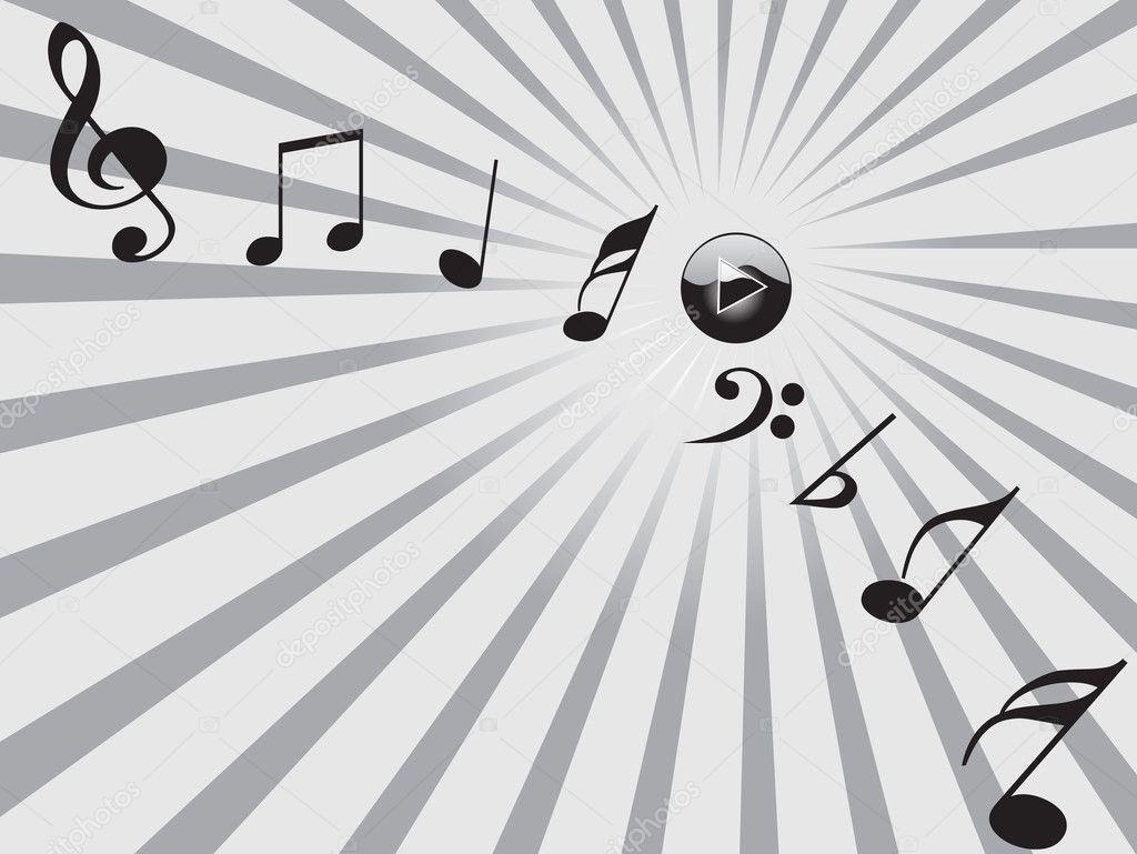 Imágenes Tonos Musicales Botton Y Tonos Musicales Negros Vector