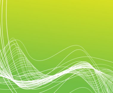 Bright curved lines on green background