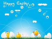 Easter chicken over blue background