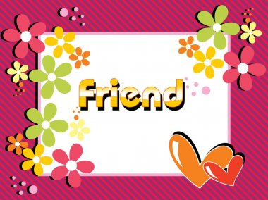 Abstract friendship day card with colorful blossom clip art vector