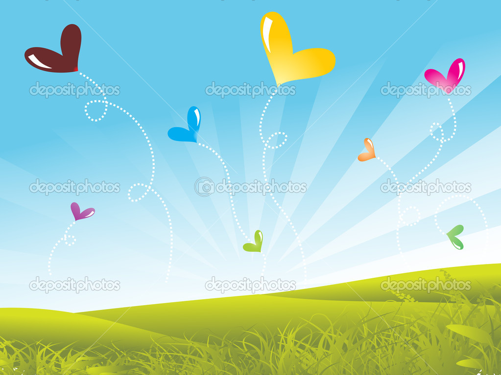 Garden background with colorful balloons