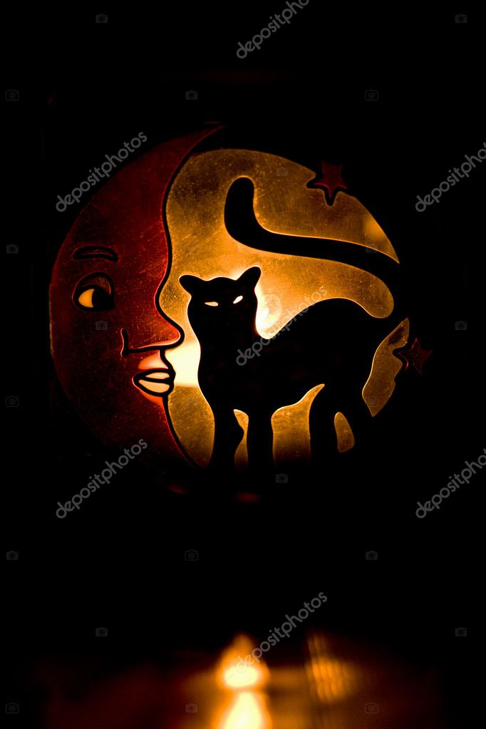 Glowing silhouette of black cat