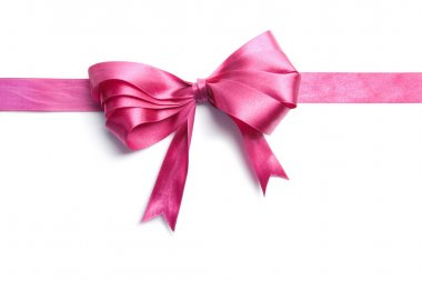 Pink ribbon with bow isolated stock vector