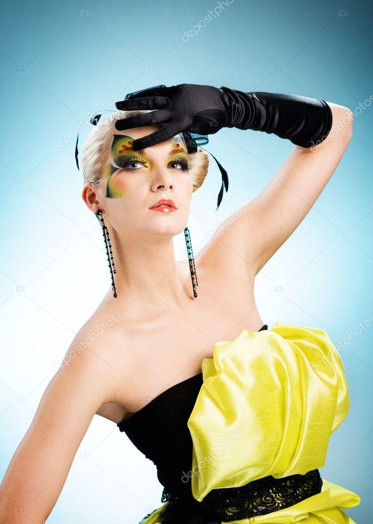 Schone Frau Mit Schmetterling Gesicht Kunst Stockfoto C Nejron