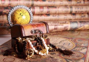 Chest , jewelry, globe, antique map