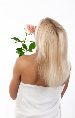 Back of blonde with flower
