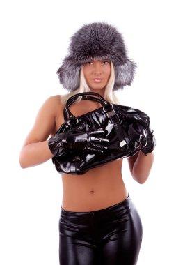 Sexy blonde with handbag