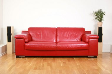Red leather comfortable sofa