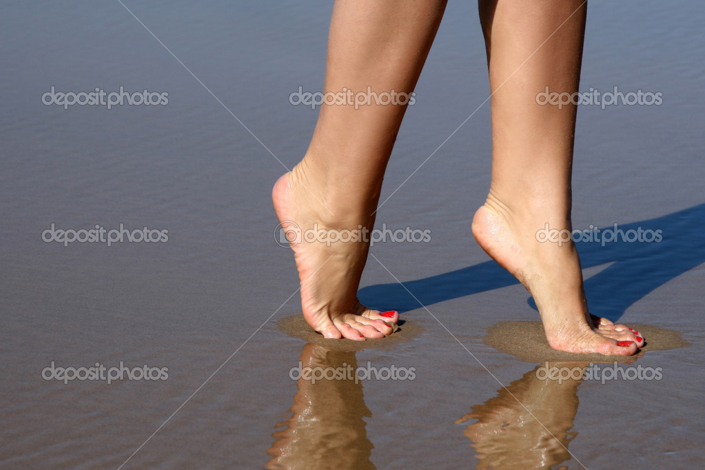 Nice legs walking in water