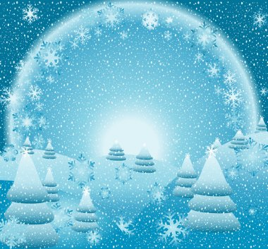 Snow falling, fantasy christmas landscape, creative illustration stock vector