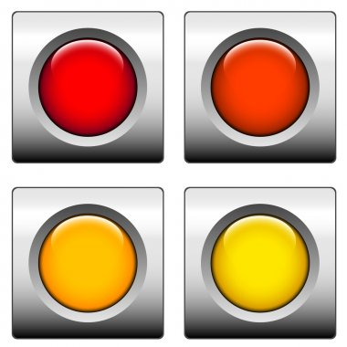 Round web buttons with different shiny colors stock vector