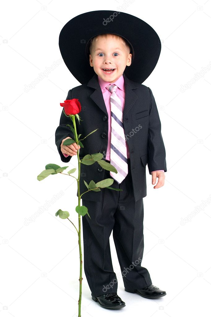Smiling boy with rose