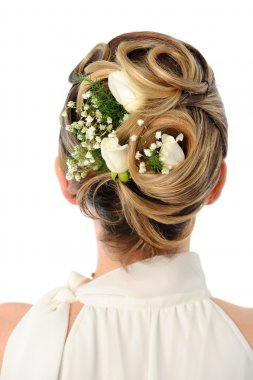Wedding coiffure with white roses