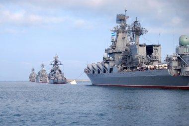 The Russian war-ships are in the bay of Sevastopol, Ukraine, Crimea