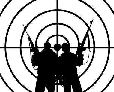 The silhouettes of two men