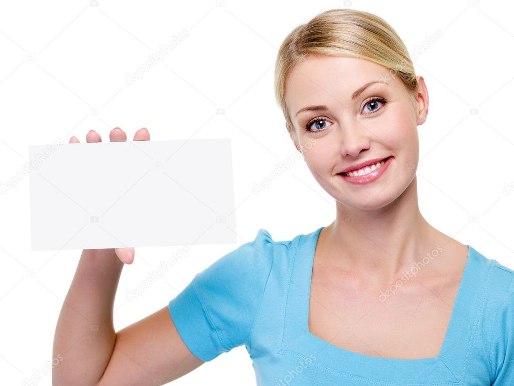 Woman holding the blank business card — Stock Photo © valuavitaly ...