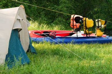 Tent and kayak