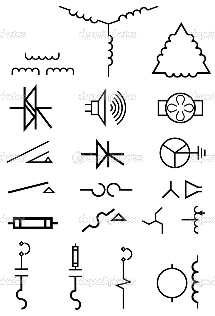 electrical power symbols  u2014 stock vector  u00a9 tehcheesiong