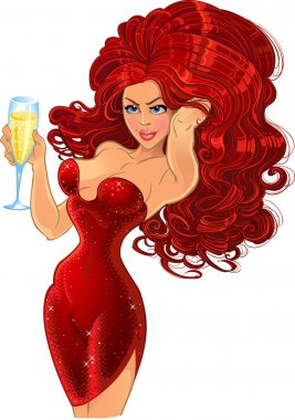 Girl in red with champagne