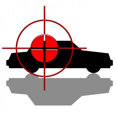Red target over black car silhouette with shadow isolated over white background stock vector