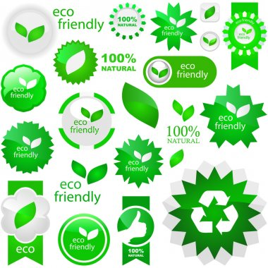 Set of natural labels. Vector great col