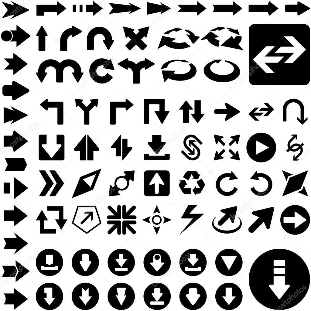 A vector set of useful arrows. Vector illustration.